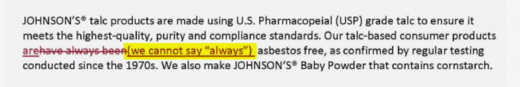2013 markup of J&J's website recognizes the company's talc may have been tainted in the past.
